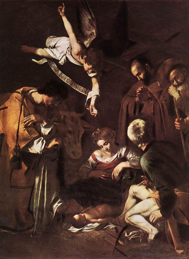 Natività con i Santi Lorenzo e Francesco d'Assisi Natività con i Santi Lorenzo e Francesco d'Assisi Autore Michelangelo Merisi da Caravaggio Data 1600? 1609? Tecnica olio su tela Dimensioni 298×197 cm