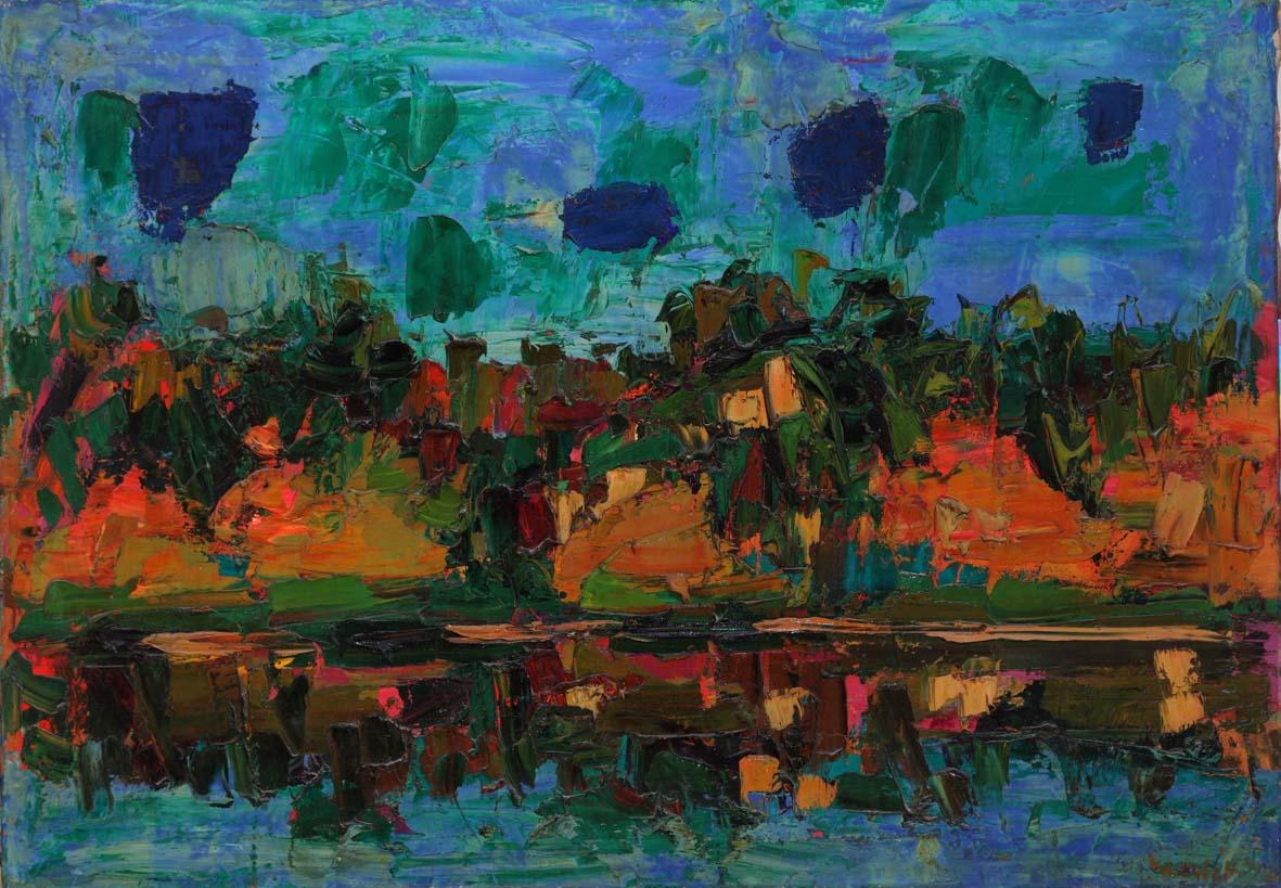Ennio Morlotti: Adda a Imbersago, 1956, olio su tela, cm 82 x 116