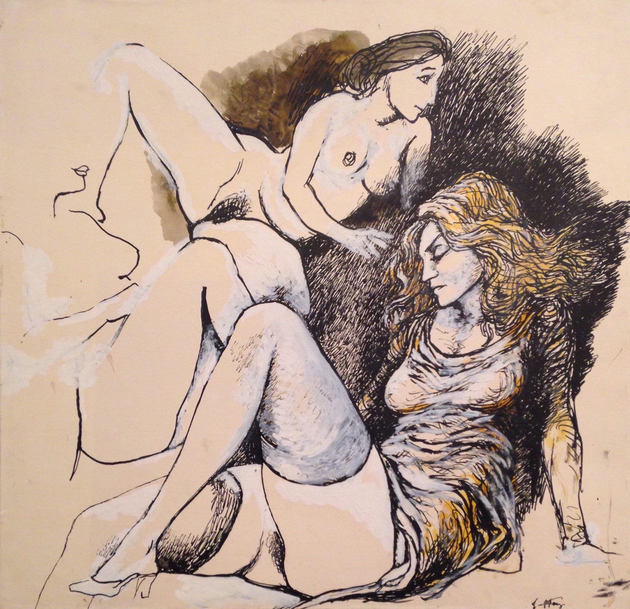 Renato Guttuso, Tre donne,1979, tempera e acrilico su cartoncino incollato su tela, cm. 50x50