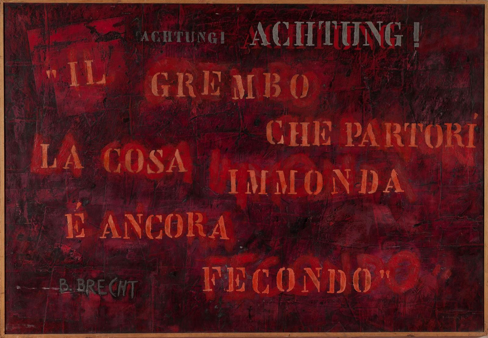 Bruno Canova, La cosa immonda, 1974, collage, acrilico e tecnica mista su tela, cm. 151 x 220.