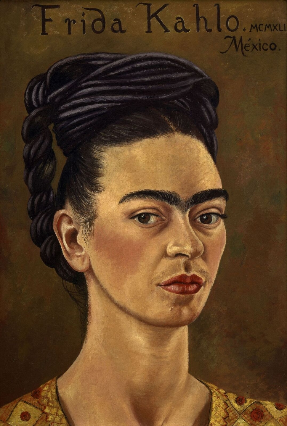Frida Kahlo Autoritratto con vestiro rosso e oro (Autoritratto MCMXLI), 1941 Olio su tela, 39x27,5 cm The Jacques and Natasha Gelman Collection of 20th Century Mexican Art and The Vergel Foundation, Cuernavaca