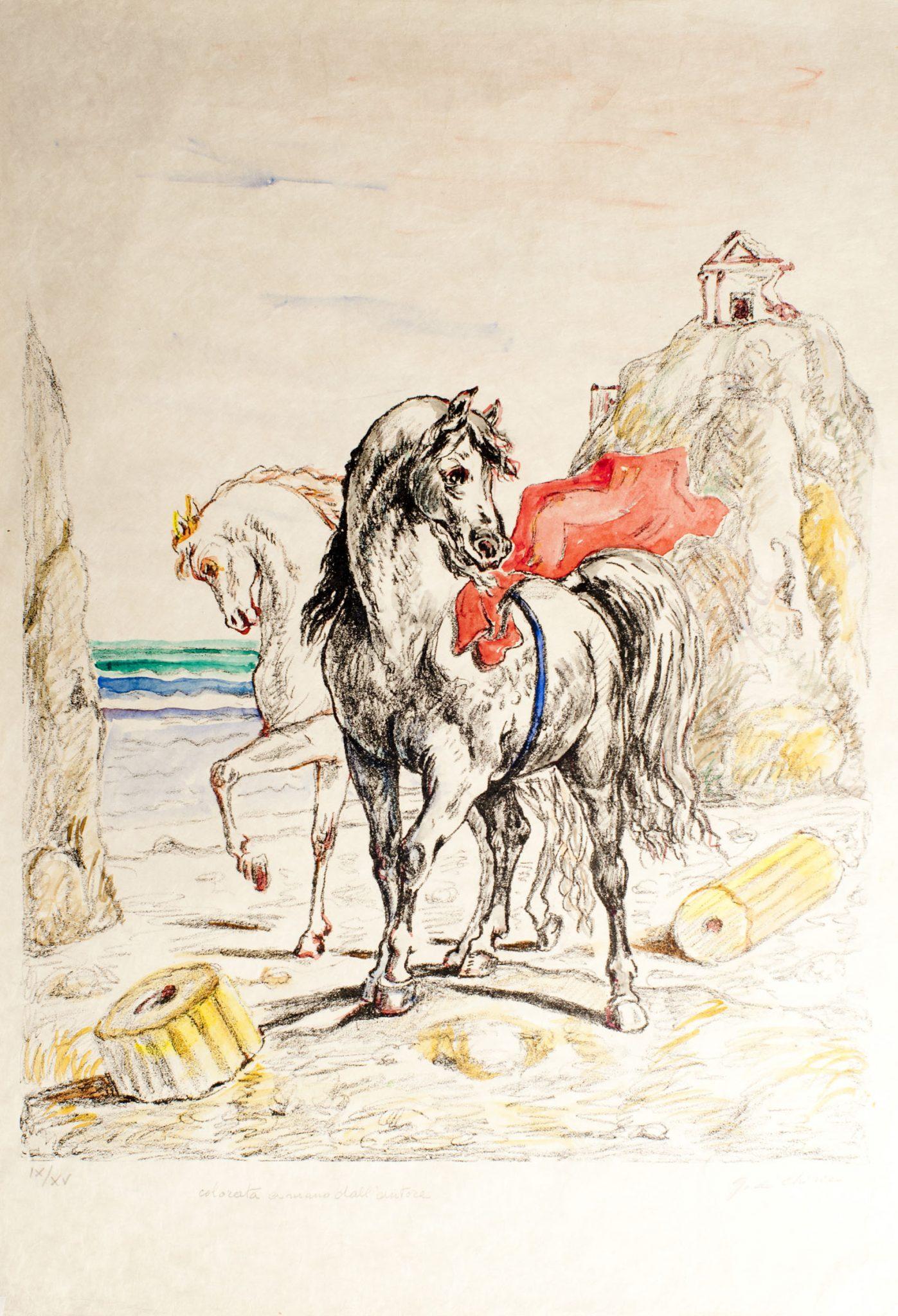 Giorgio de Chirico, Cavalli antichi, 1969. Litografia colorata a mano dall'artista