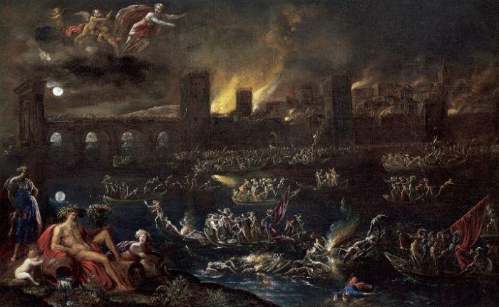"""Agostino Tassi - Incendio notturno di una città"""", 1637-8. Olio su tela, cm 63x99,5. Parigi, Galerie Canesso, prov.: Francia, collezione privata"""