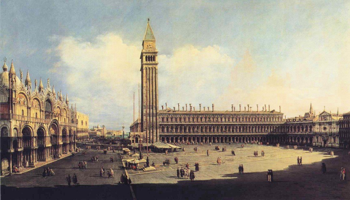 Bernardo Bellotto, La Piazza San Marco, Venezia /Piazza San Marco, Venezia, 1742-1743, olio su tela, 136,2 x 232,5 cm