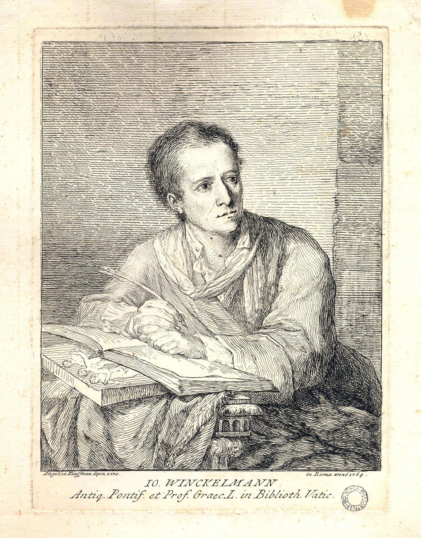 """Angelica Kaufmann, """"Ritratto di J. J. Winckelmann"""" ripreso dal dipinto della stessa Angelica Kaufmann, 1764, incisione all'acquaforte, 25,5 x 19,3 cm - Raccolta Piancastelli, Biblioteca Comunale """"A. Saffi"""", Forlì"""