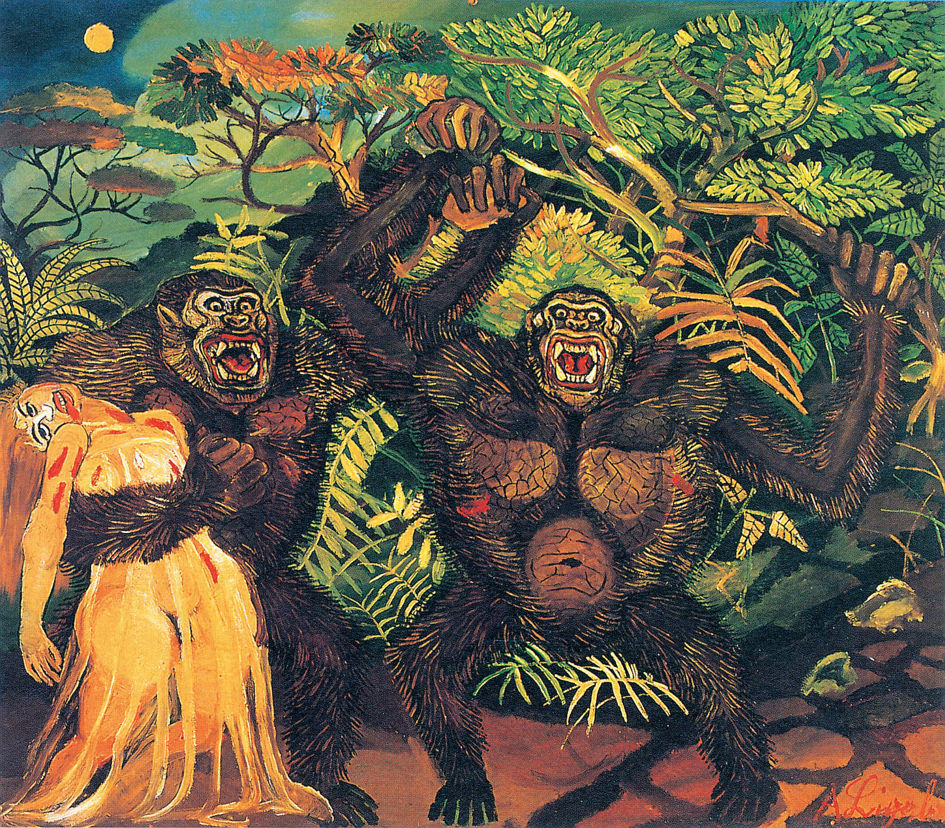 Antonio Ligabue, Gorilla con donna mostra pavia 2017 scuderie del castello visconteo