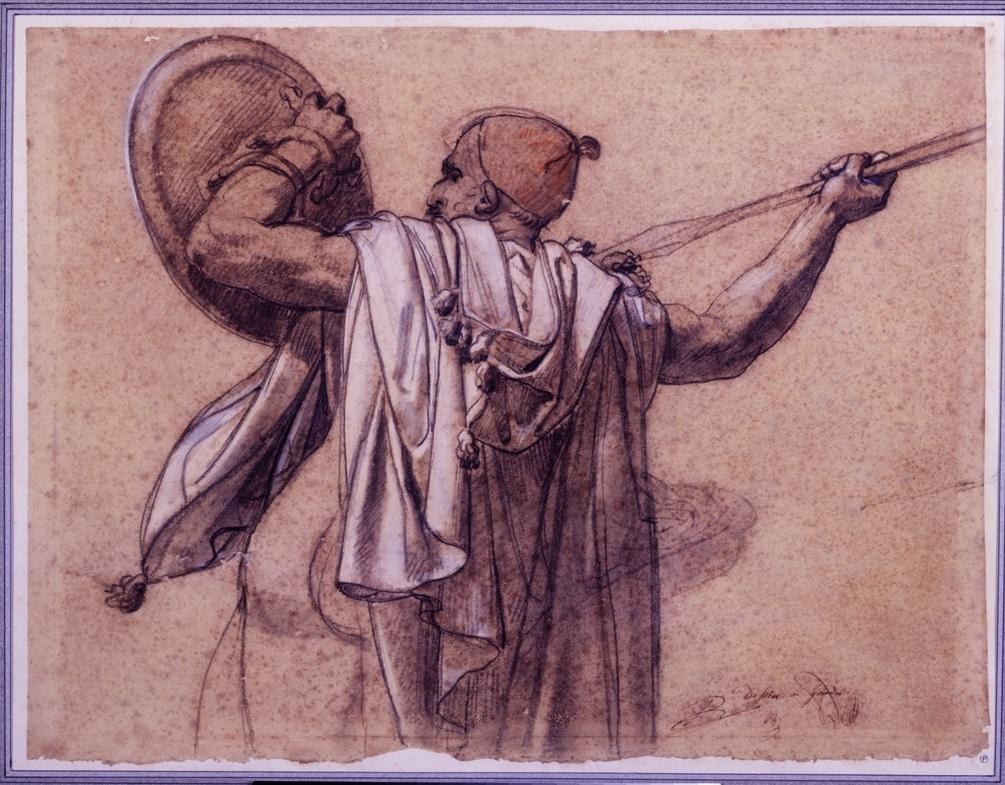 Anne-Louis-Girodet-de-Roussy-Trioson-Arabo-visto-di-spalle-rivolto-a-sinistra-mentre-alza-la-sua-lancia-e-il-suo-scudo-31-x-41-cm-Parigi-collezione-Prat