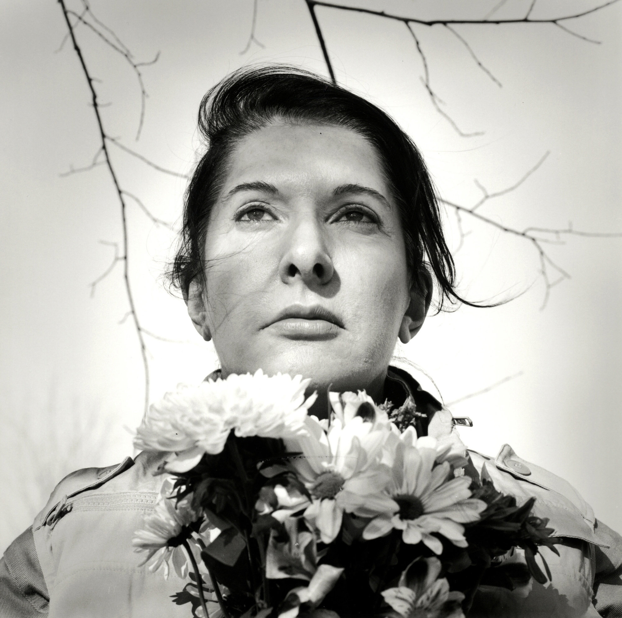 Marina Abramović. Portrait with Flowers, 2009
