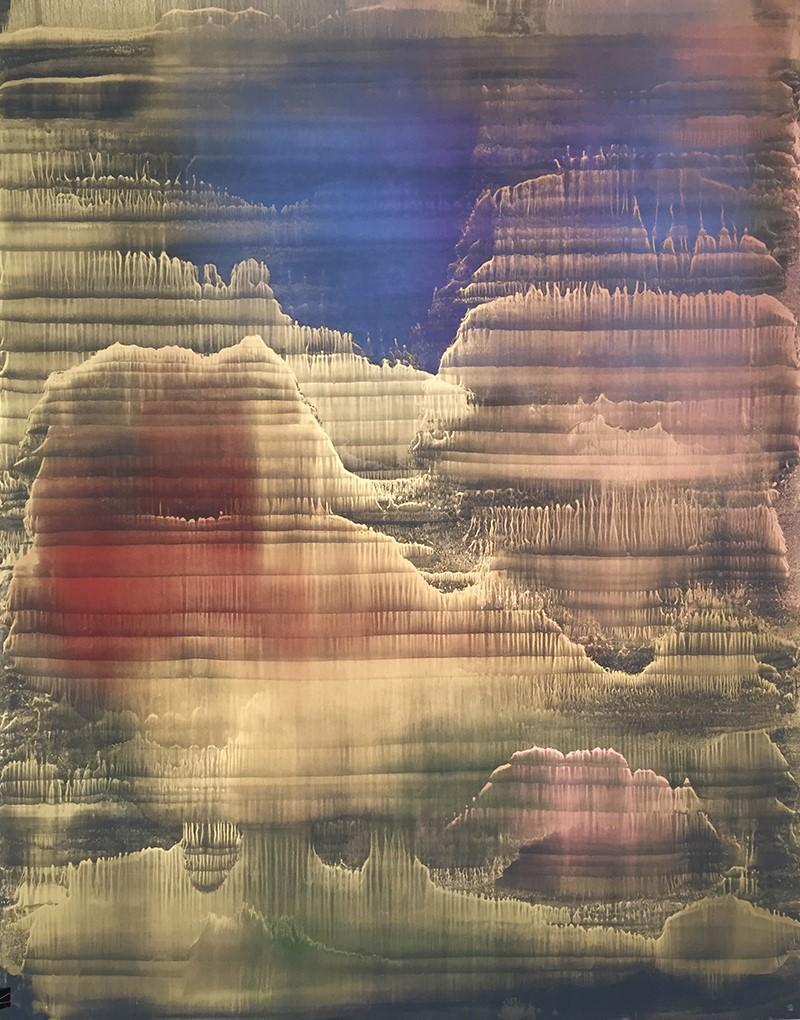 Matteo-Montani-Vespertine-rising-olio-e-polveri-metalliche-su-carta-abrasiva-2017