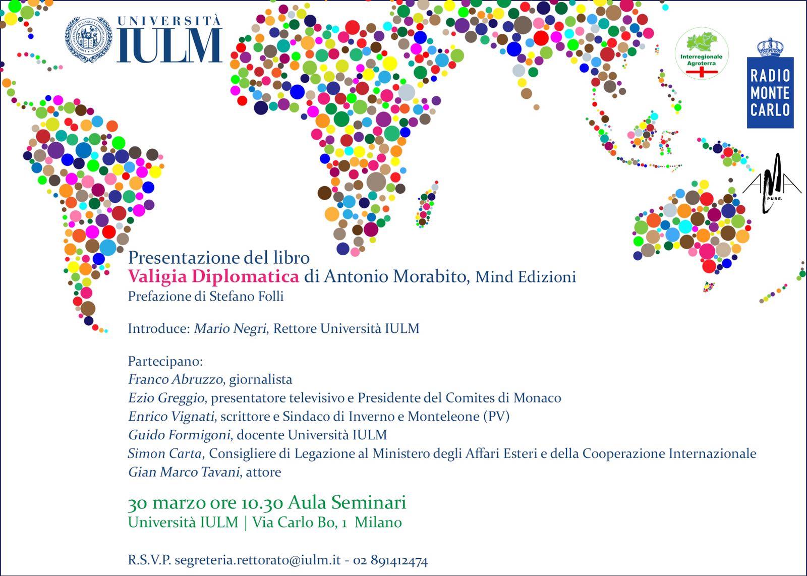 Presentazione libro, Valigia diplomatica di Antonio Morabito,Università IULM, Milano