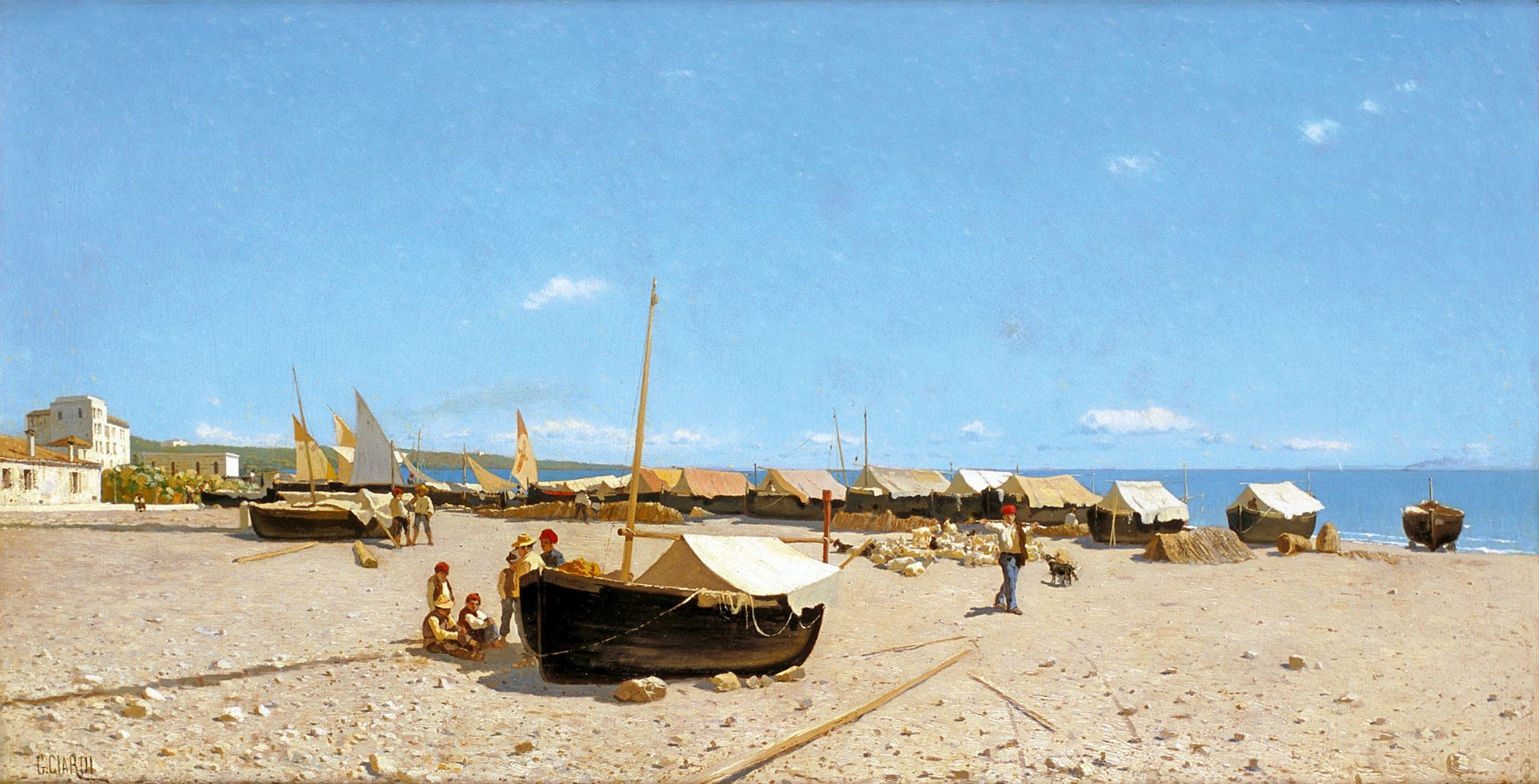 Guglielmo Ciardi, Il Porto di Anzio, 1874 circa, olio su tela, 46 x 88 cm