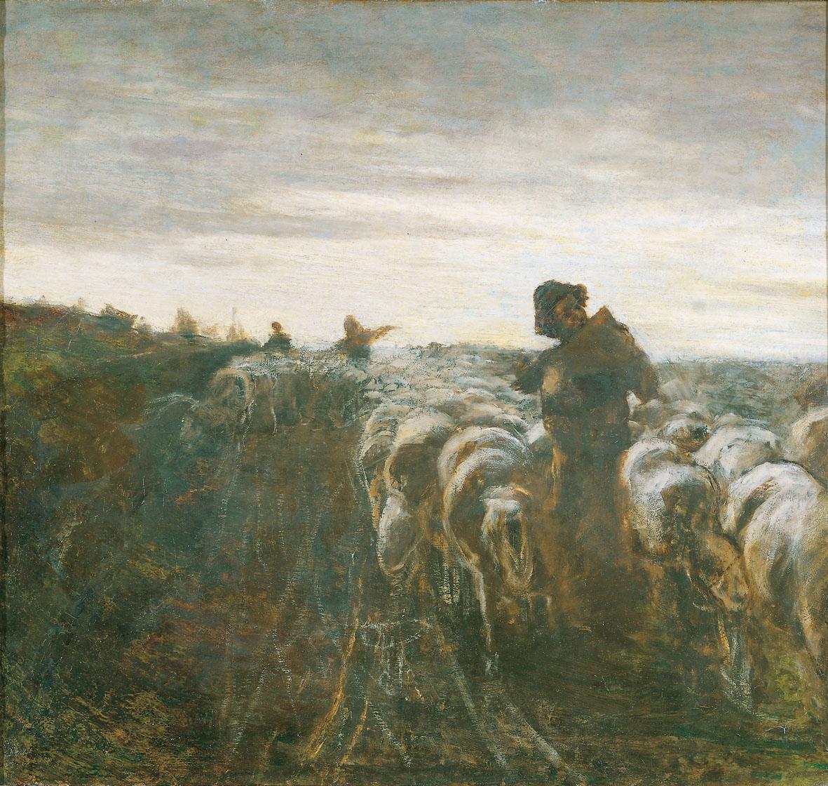 Giovanni Segantini: Il ritorno dal pascolo, Olio su tela. Collezione privata