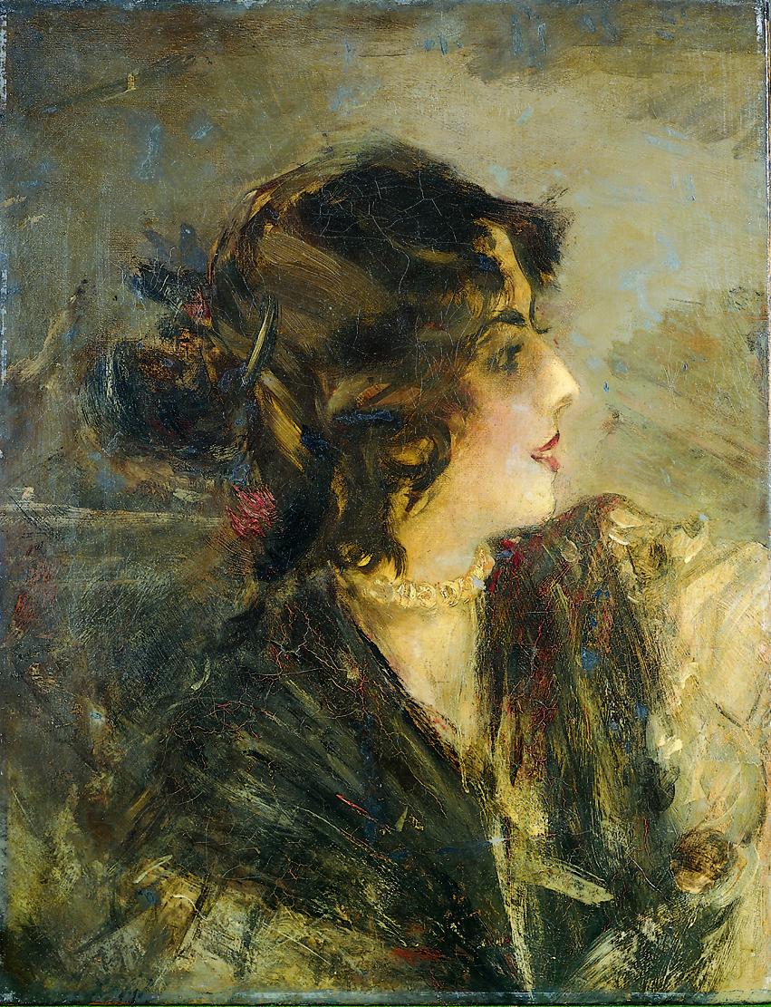 Giovanni Boldini Ritratto della danzatrice spagnola Anita De La Feria 1901 Olio su tela, 54,5x42 cm Collezione privata