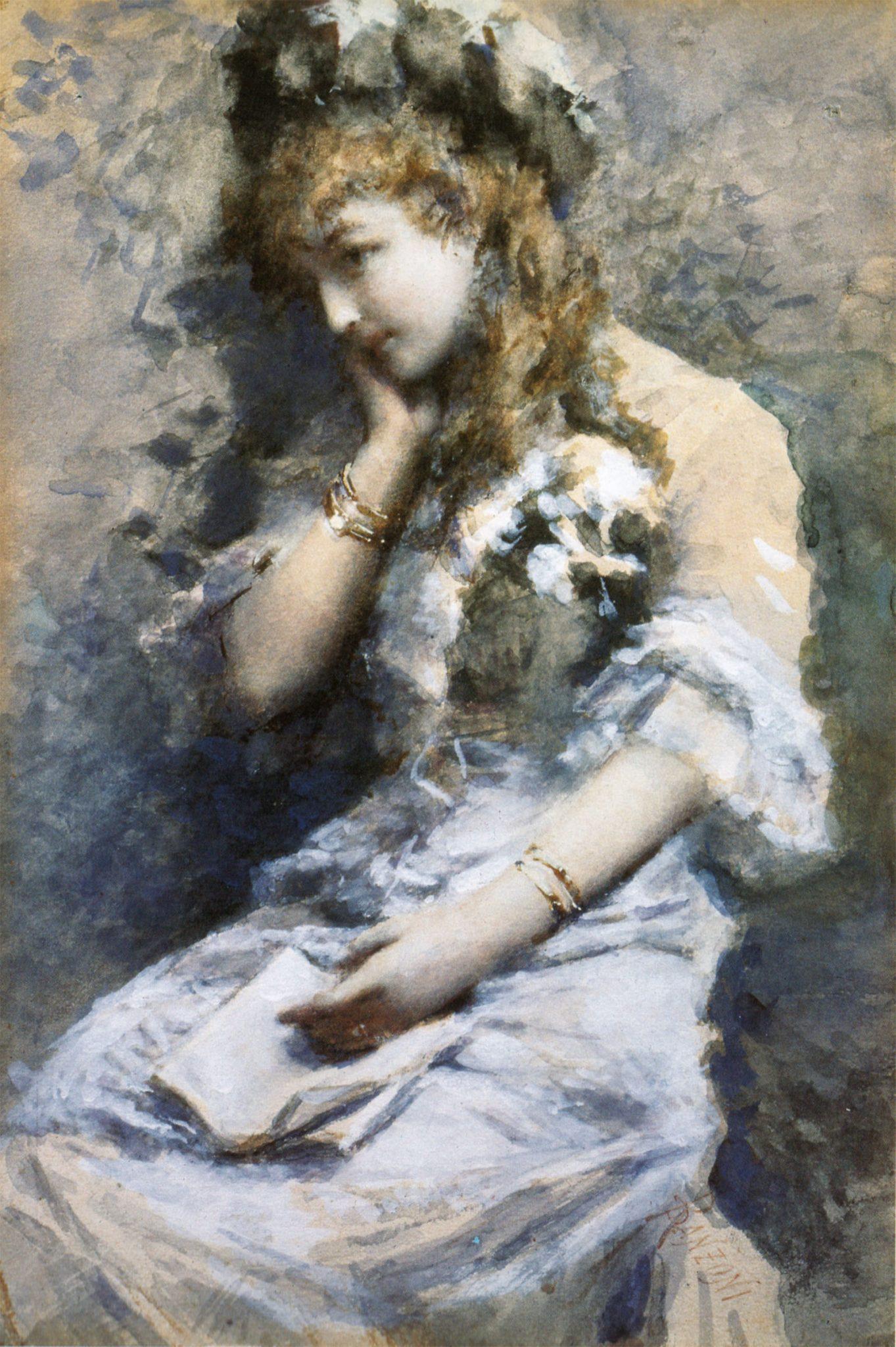 Daniele Ranzoni - In contemplazione, acquarello su carta, 1880