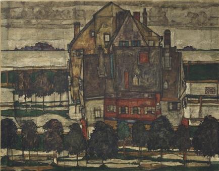 Egon Schiele Einzelne Häuser 1915 Christie's Londra