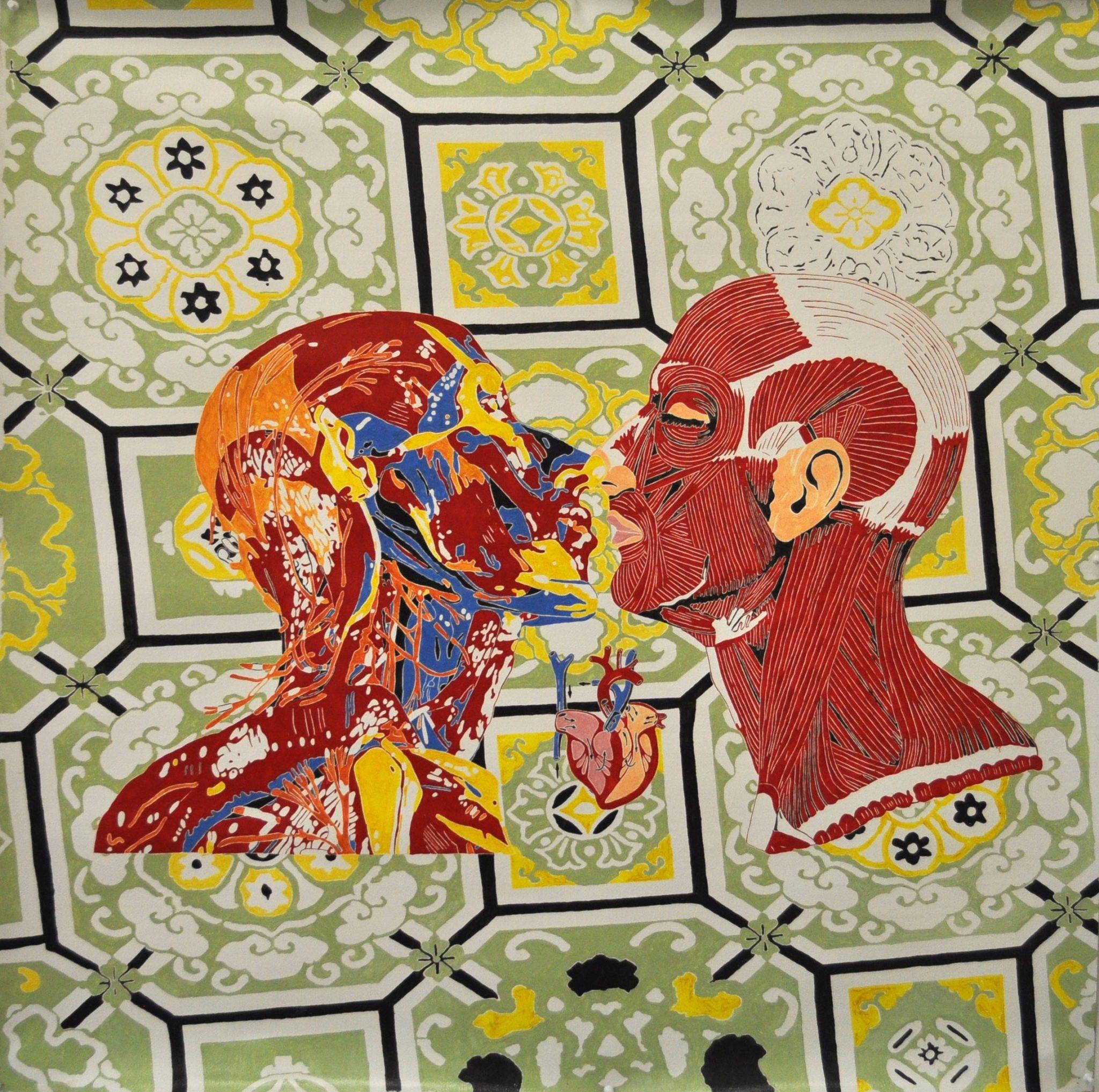Maurizio Cannavacciuolo, I love you, 2014, olio su tela, 110 x 110 cm galleria Bonelli Milano