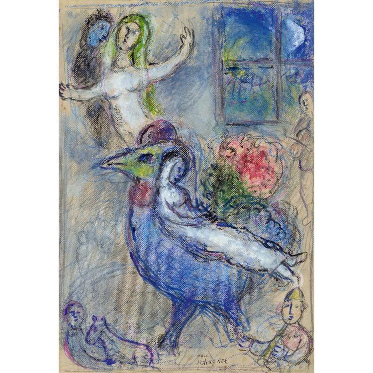 Marc Chagall, L'Oiseau et les mariés, Lotto 25, Tajan 2017