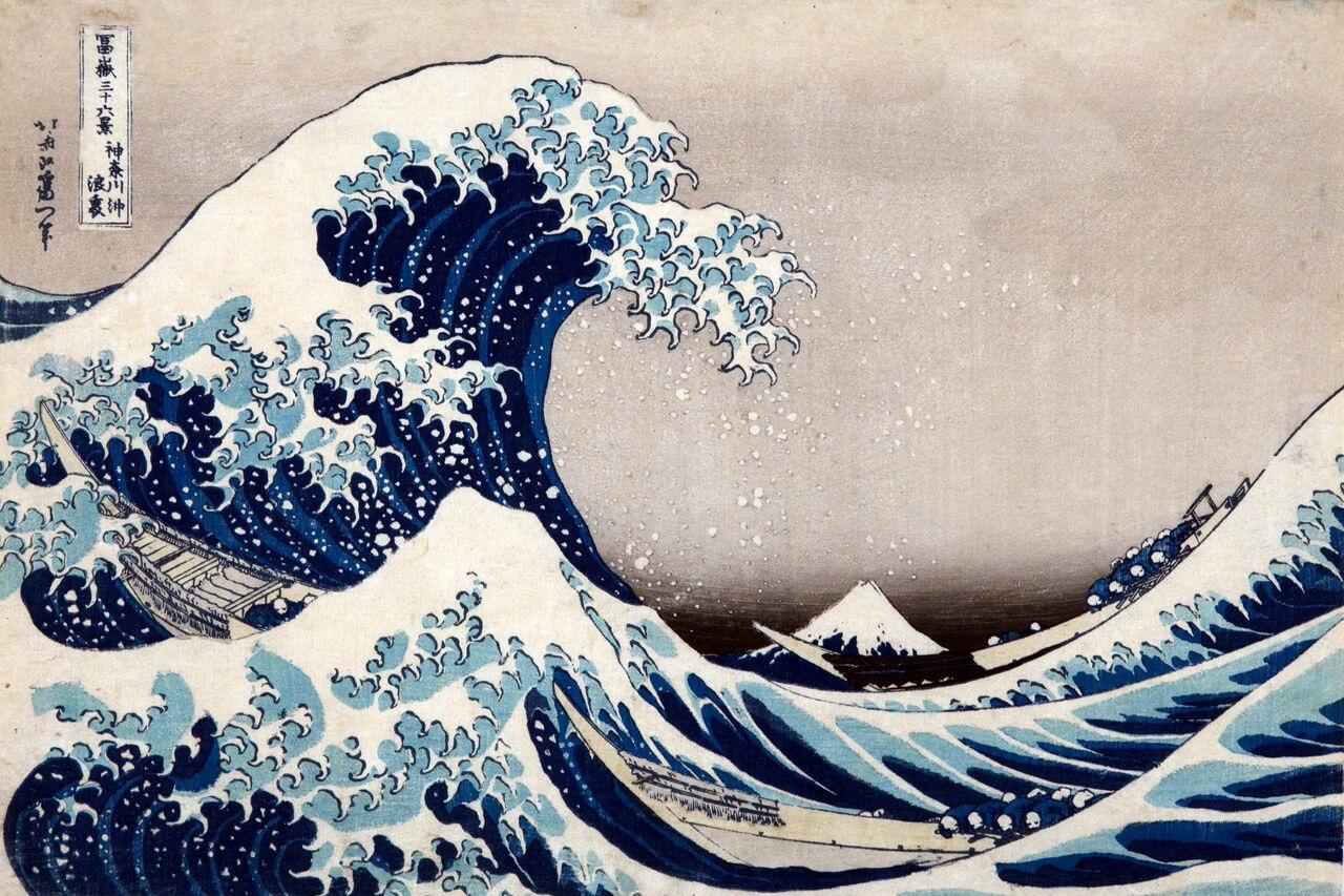 Katsushika Hokusai La [grande] onda presso la costa di Kanagawa, dalla serie Trentasei vedute del monte Fuji, 1830-1832 circa Silografia policroma Kawasaki Isago no Sato Museum