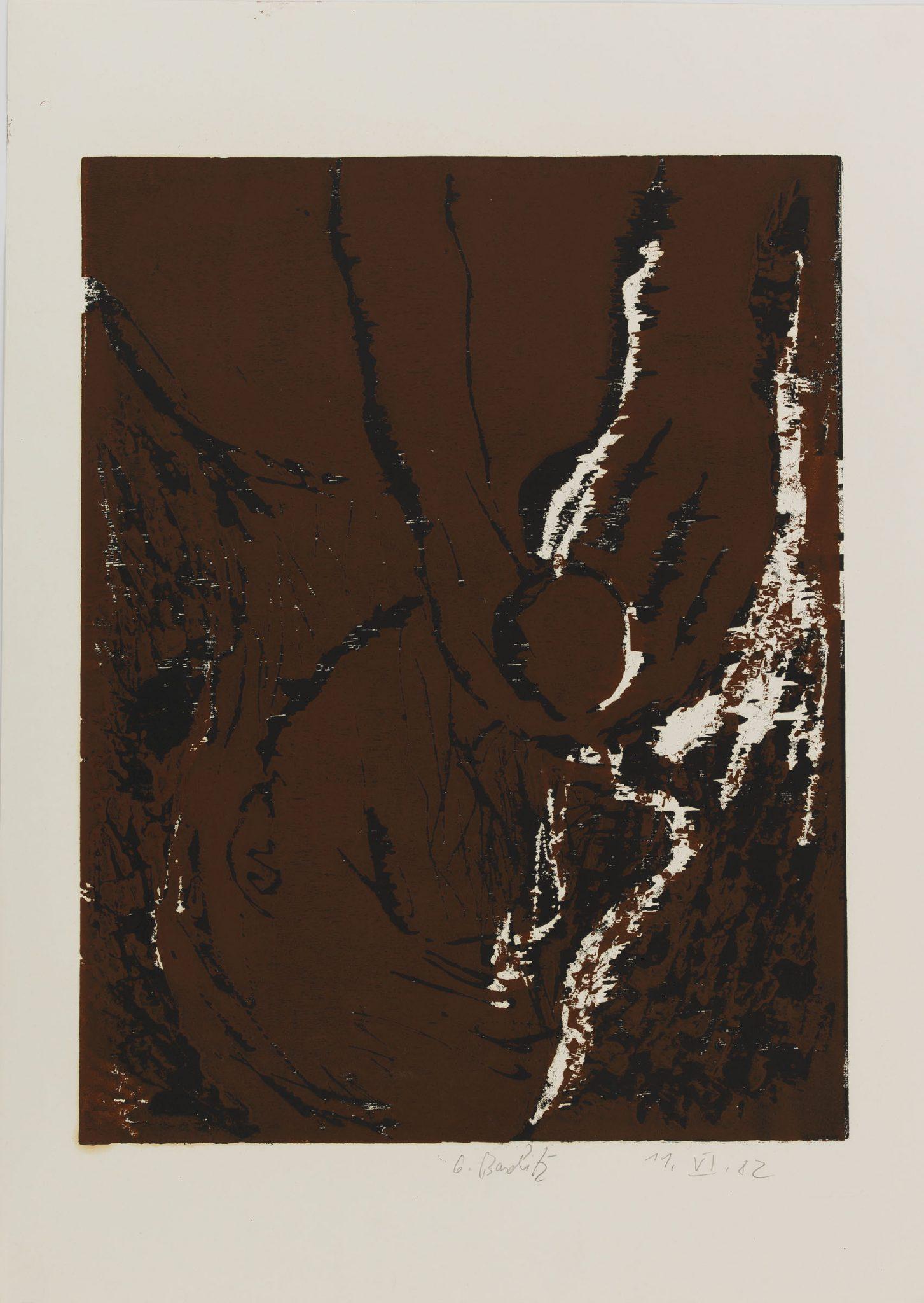 Georg Baselitz, Profilkopf, 1982, offset apprêté; Xylographie, image: 650 x 502 mm; feuille: 862 x 610 mm. © Musées d'art et d'histoire, Ville de Genève, Cabinet d'arts graphiques. Photo: André Longchamp