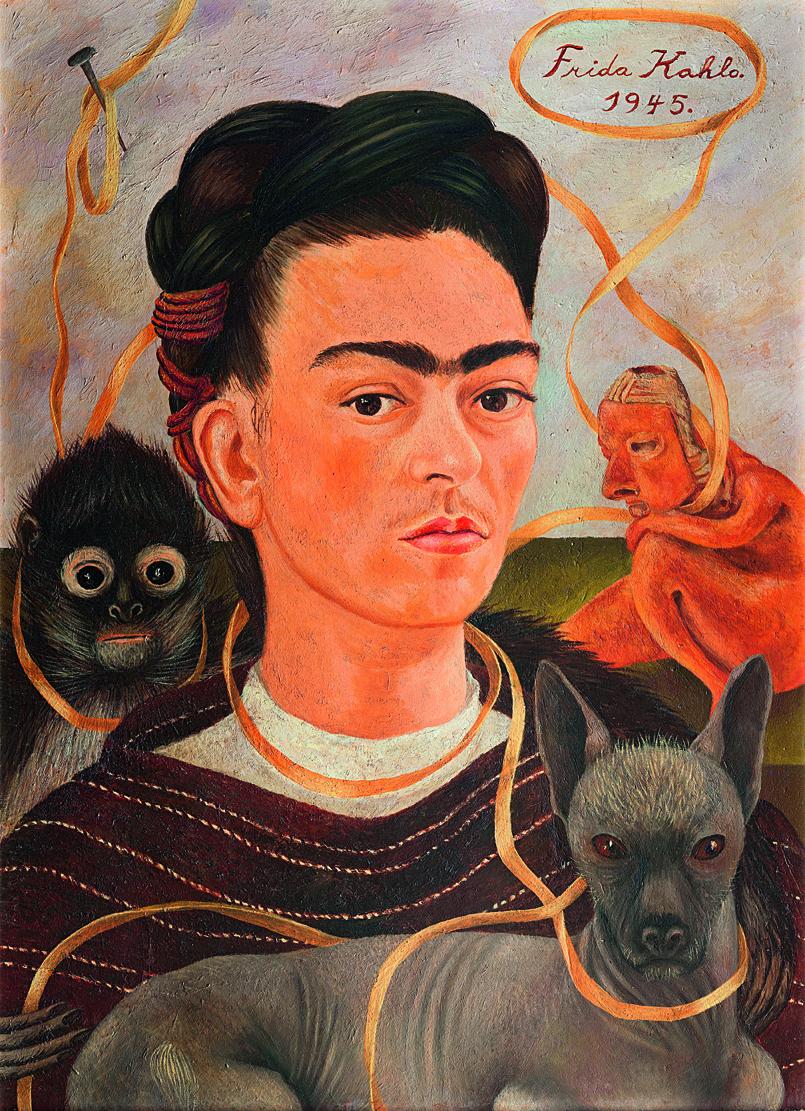 Autore: Frida Kahlo Titolo: Autorretrato con changuito Anno: 1945 - Nr archiv.: 1 Tecnica: oil on masonite Dim SC: 56 x 41,5 cm Prestatore: Museo Dolores Olmedo Crediti: ©Archivio Museo Dolores Olmedo/Foto Erik Meza - Xavier Otada ©Banco de México Diego Rivera Frida Kahlo Museums Trust, México, D.F. by SIAE 2017