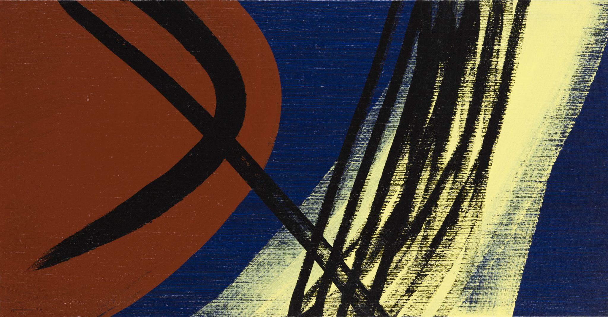 Hans Hartung, T1974-E28 T1974-E29, 1974, acrilico su tela, 50 x 220 cm, Collezione Fondazione Hartung-Bergman
