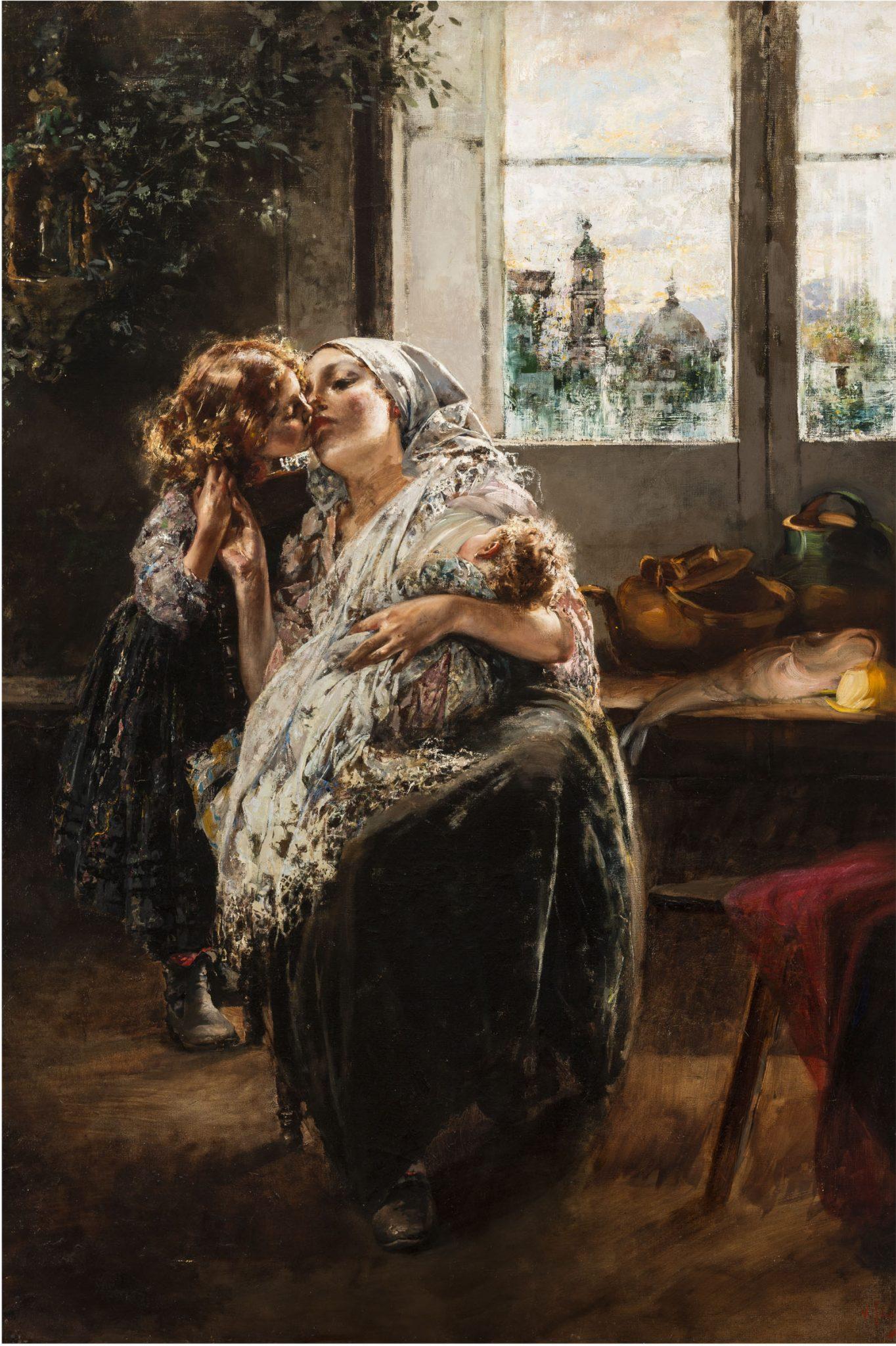 Vincenzo Irolli, Gioie materne, 1890 circa, Olio su tela, 128 x 80 cm