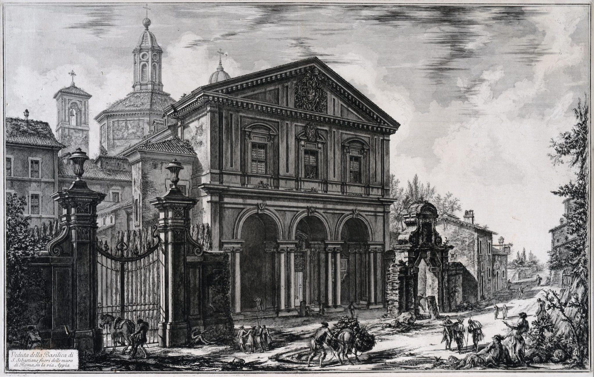 Giovanni Battista Piranesi, Basilica di San Sebastiano, 1750-1760, acquaforte, Museo di Roma