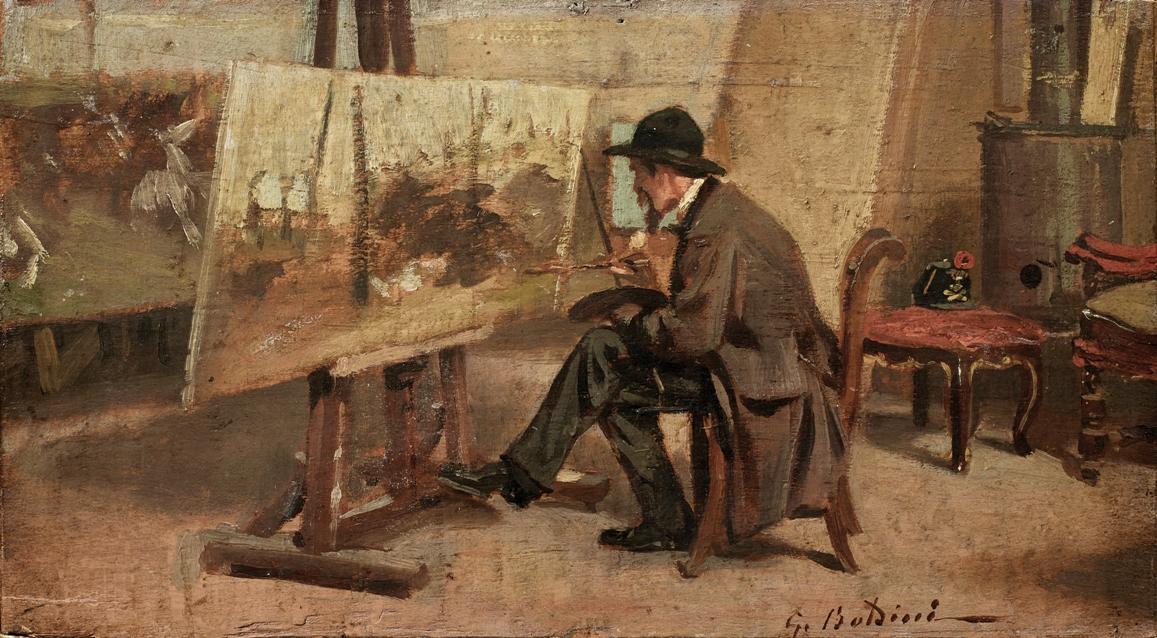 Giovanni Boldini - Giovanni Fattori nello studio 1867 Milano, Collezione Intesa Sanpaolo