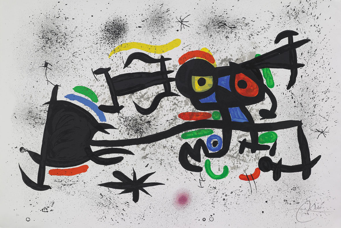 Joan Miró - Barrio chino,1971, litografia originale a colori - Guastalla Centro Arte, Livorno