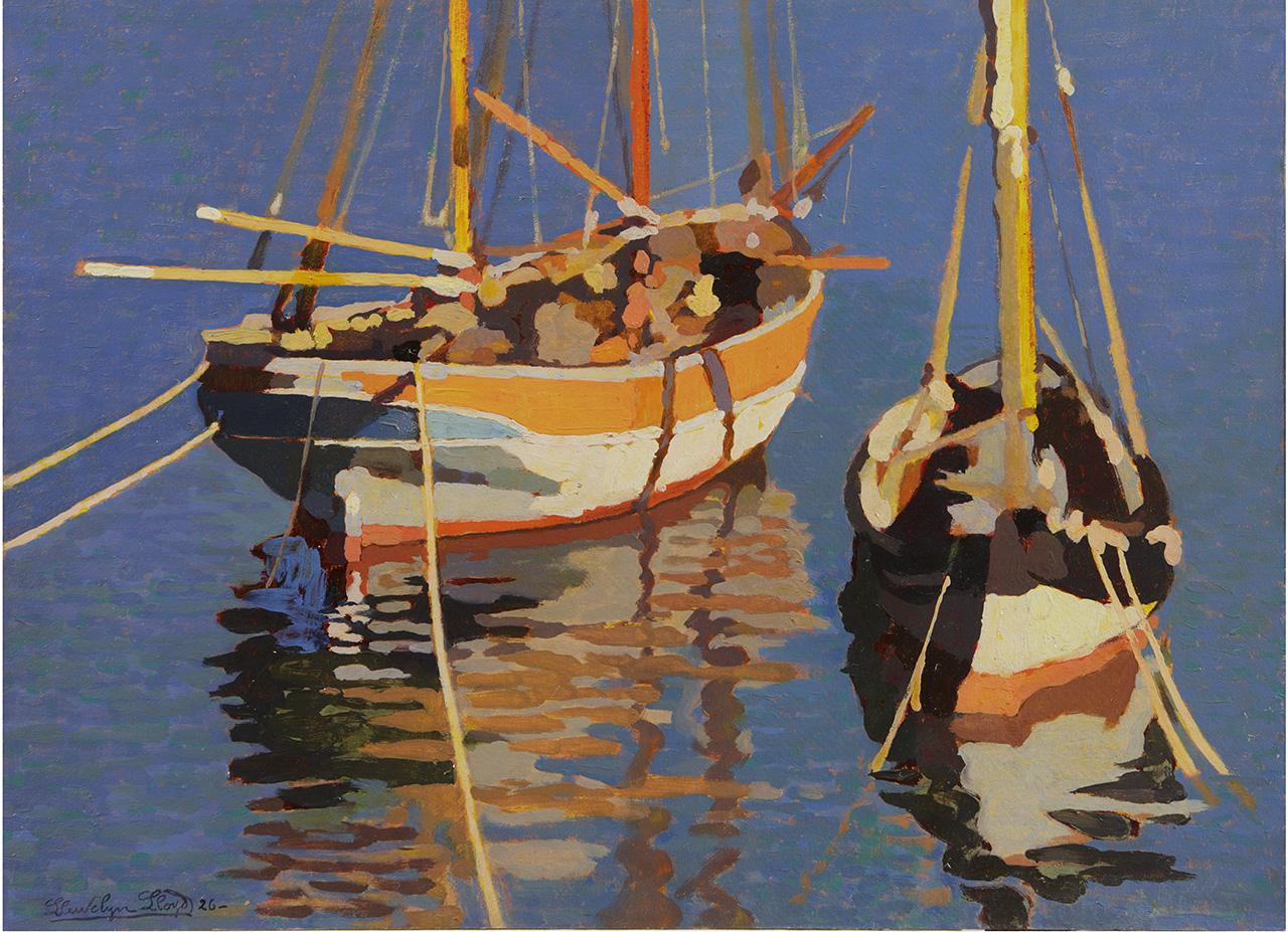 Llewelyn Lloyd - Barconi all'ormeggio, 1926