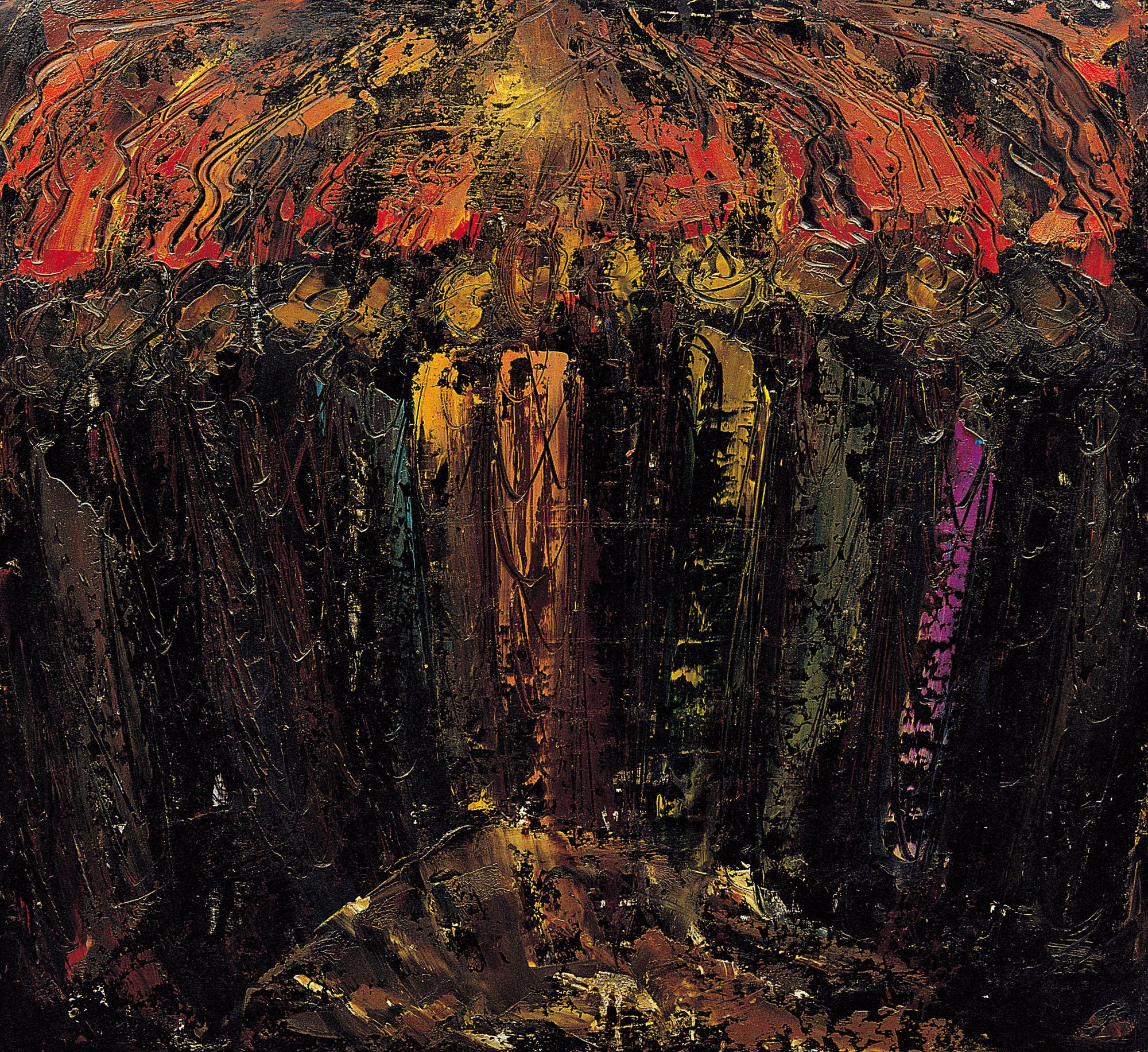William Congdon, Pentecoste 4, 1962. Olio su faesite, cm 110x120. Milano, The William G. Congdon Foundation