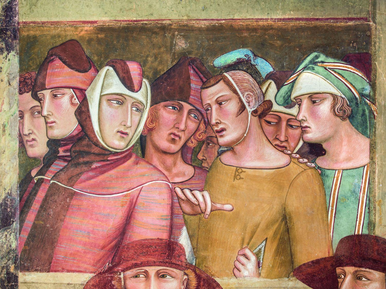 Ambrogio Lorenzetti - Professione pubblica di San Ludovico di Tolosa (particolare) 1334-40 affresco staccato, Siena, Basilica di San Francesco