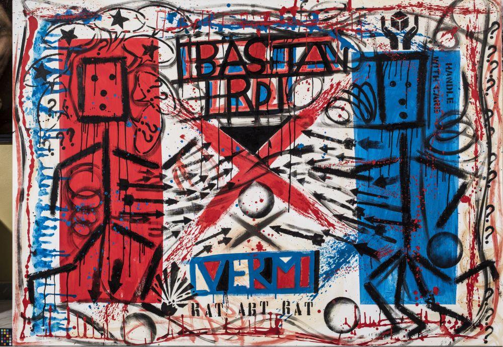 Pablo Echaurren That's wall, Falks! Acrilico su tela 160 x 240 cm 2016 Collezione Fondazione Roma Foto: © Giuseppe Schiavinotto