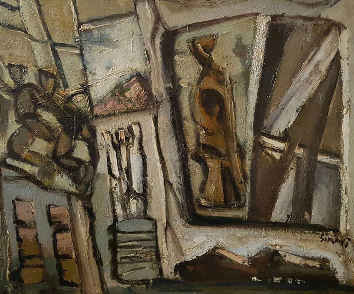 Mario Sironi, composizione anni 50, olio su tela, cm 50x60