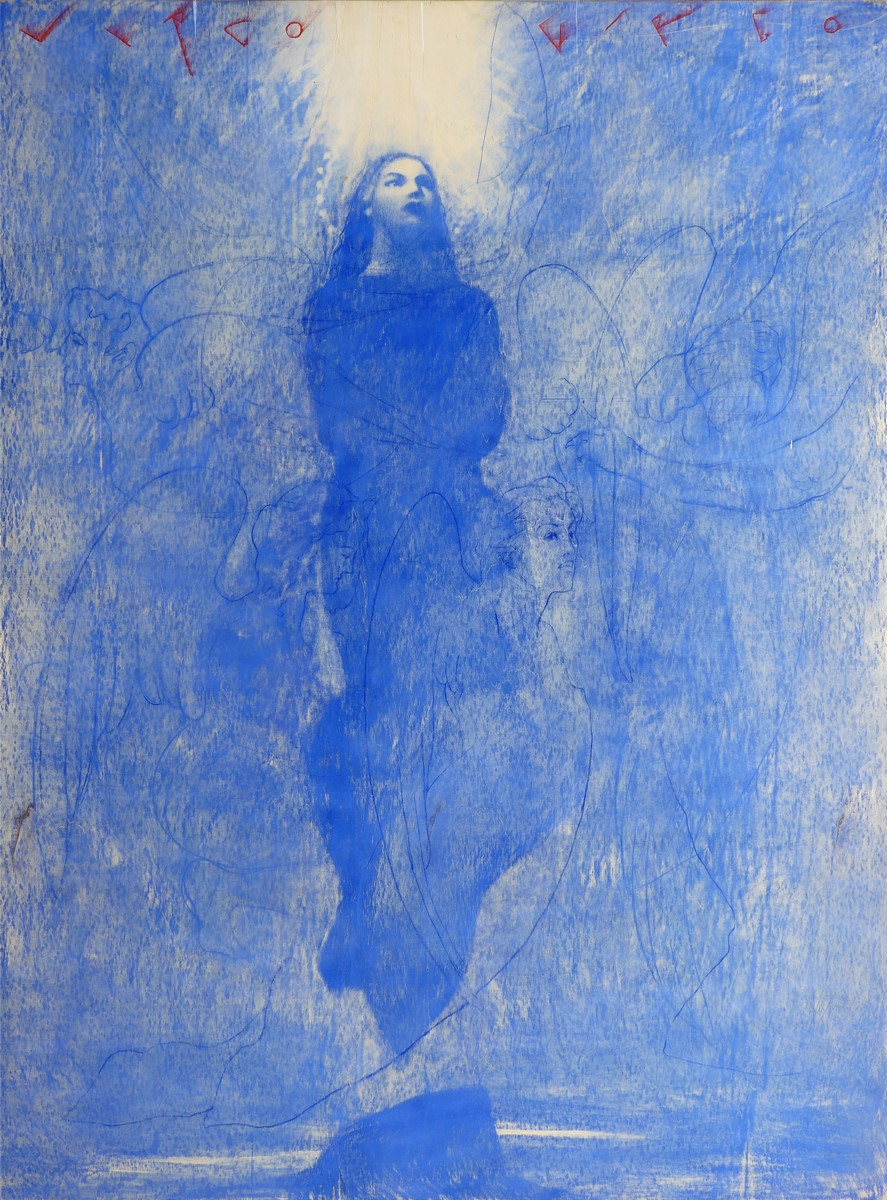 Omar Galliani, Assunta, 1998, pastello blu su tavola e pigmento rosso (cm 252x187)