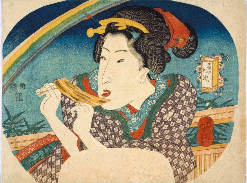 Utagawa Kuniyoshi Arcobaleno primaverile (Haru no niji) 1836 - 22,7 x 30,3 cm