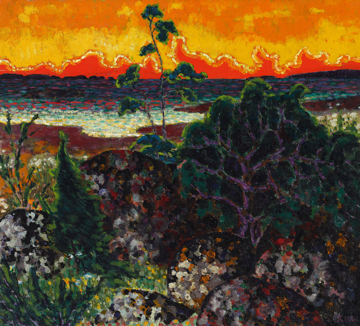 Mägi: Paesaggio con nuvola rossa. 1913–1914, Olio su tela. 70,4 × 78. © Stanislav Konrad