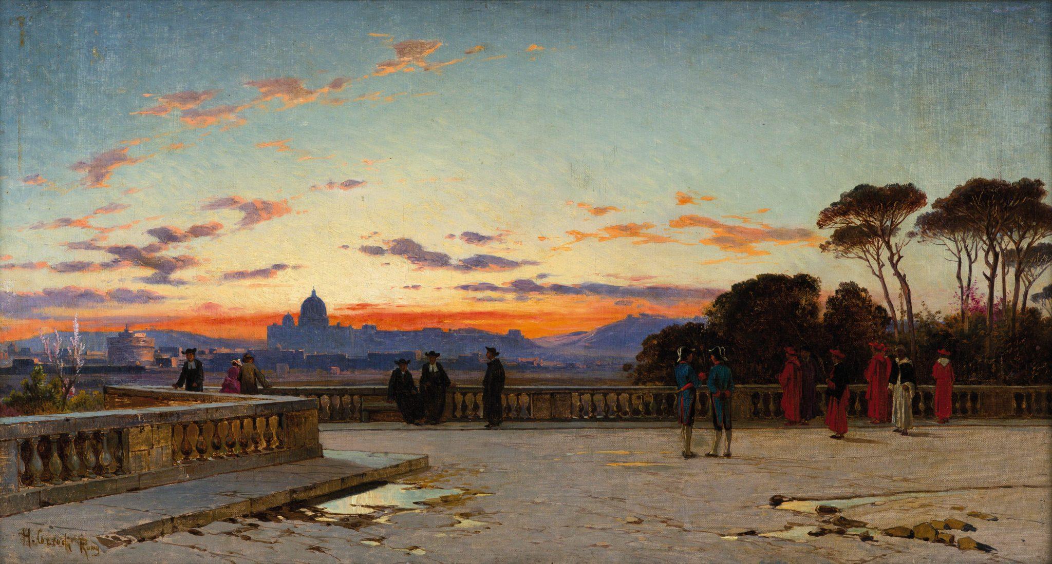 Tramonto della Città Eterna dei Cardinali sulla terrazza del Pincio di Hermann Corrodi (lotto 976)