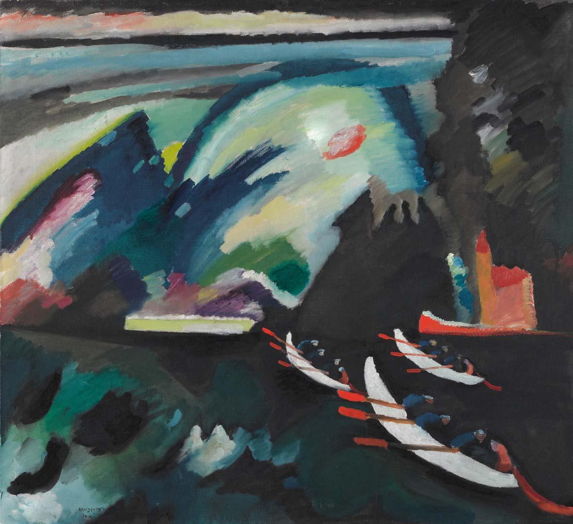 Vasilij Kandinskij: Lago. 1910. Olio su tela. 98 x 105. Mosca, Galleria Tret'jakovskaja