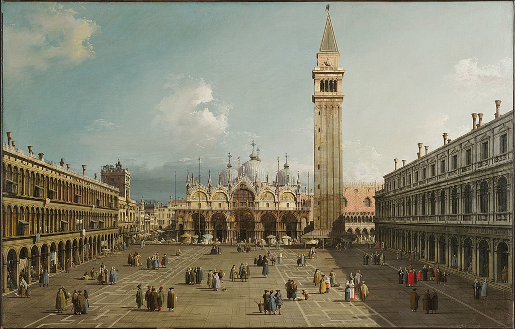 Canaletto Piazza San Marco verso la Basilica (1735 circa, Cambridge (Massachusetts), Fogg Art Museum)
