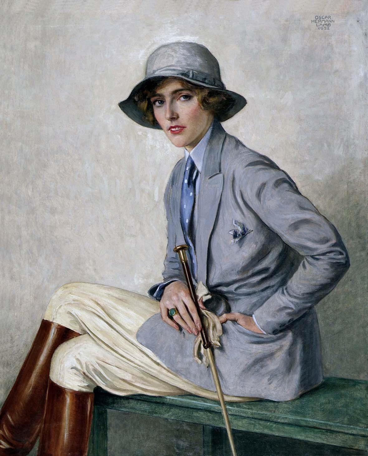 Mostra Trieste - Amazzone dipinta da Oscar Lamb, olio su tela