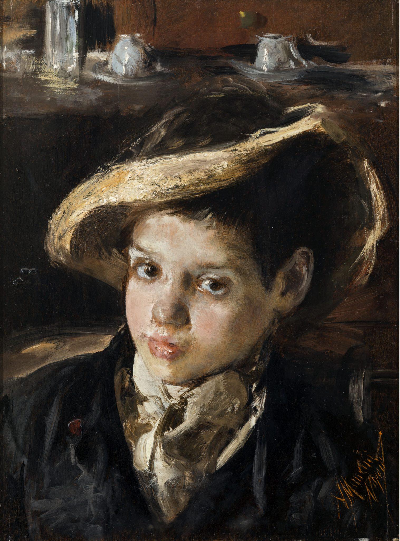 Ritratto di bambino con cappello di paglia rotta di Antonio , Mancini, mostra Ottocento Contemporaneo