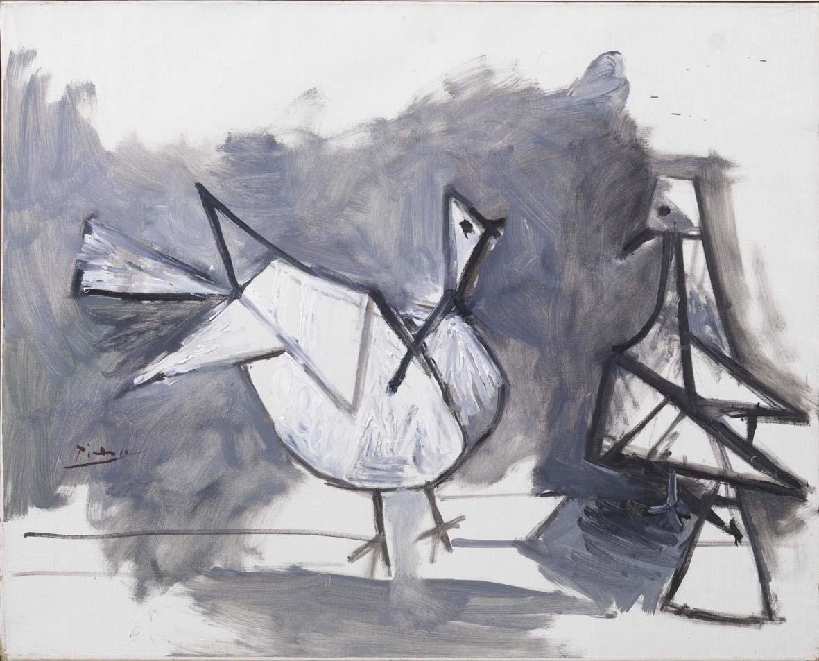 Pablo Picasso: Deux pigeons 1960, olio su tela