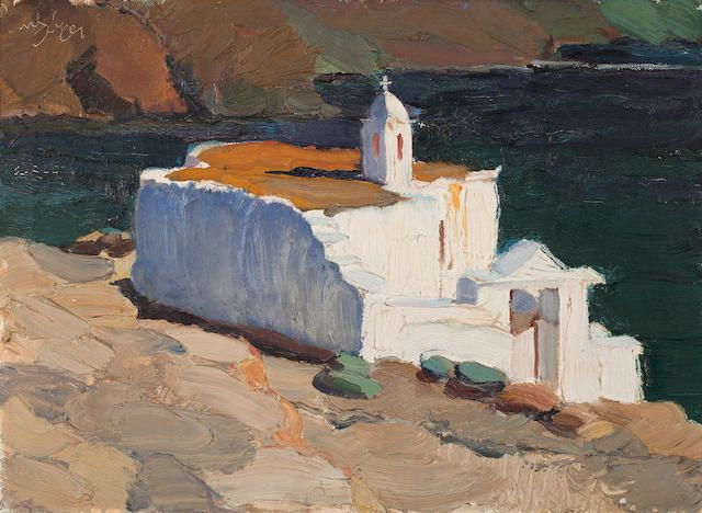 NIKOLAOS LYTRAS (Greek, 1883-1927) St. Marcos Church, Tinos island 54 x 73 cm. Venduto per £112,500 (€126,917) premio d'asta incluso