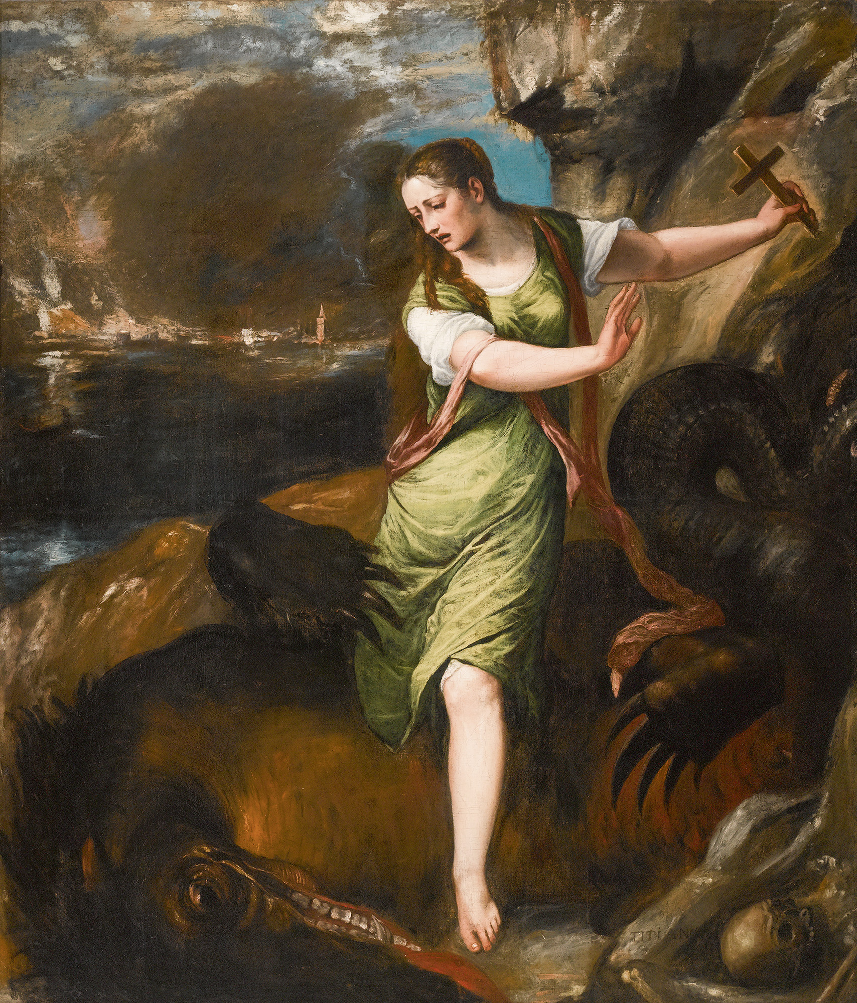 Old master Sotheby's -Tiziano Vecellio, called Titian, and Workshop, Saint Margaret. Estimate $2,000,000–3,000,000.