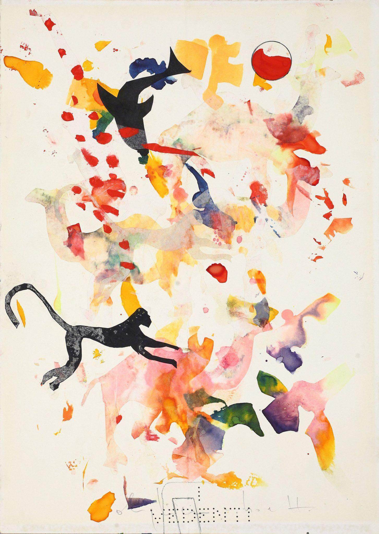 Alighiero Boetti Senza titolo animali misti 1988 collage e tecnica mista su carta 35x25 cm.