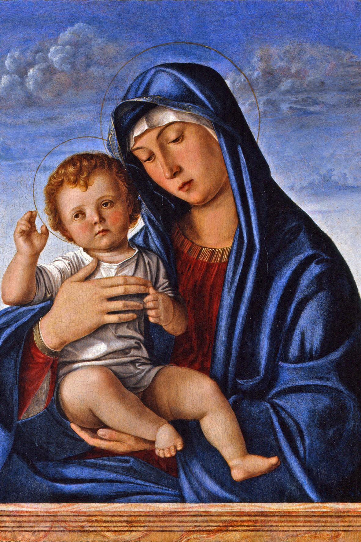 Giovanni Bellini, Madonna con Bambino benedicente, 1470 - 1490 circa, tempera su tavola, cm 64.5 × 50.5. Treviso, Musei Civici di Treviso