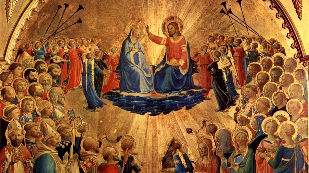 Beato Angelico, l'Incoronazione della Vergine, prestata dagli Uffizi (particolare)