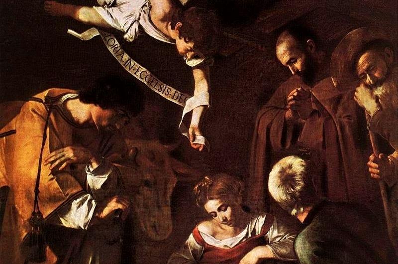 La Natività con i santi Lorenzo e Francesco d'Assisi, capolavoro del Caravaggio trafugato nel 1969 (particolare)