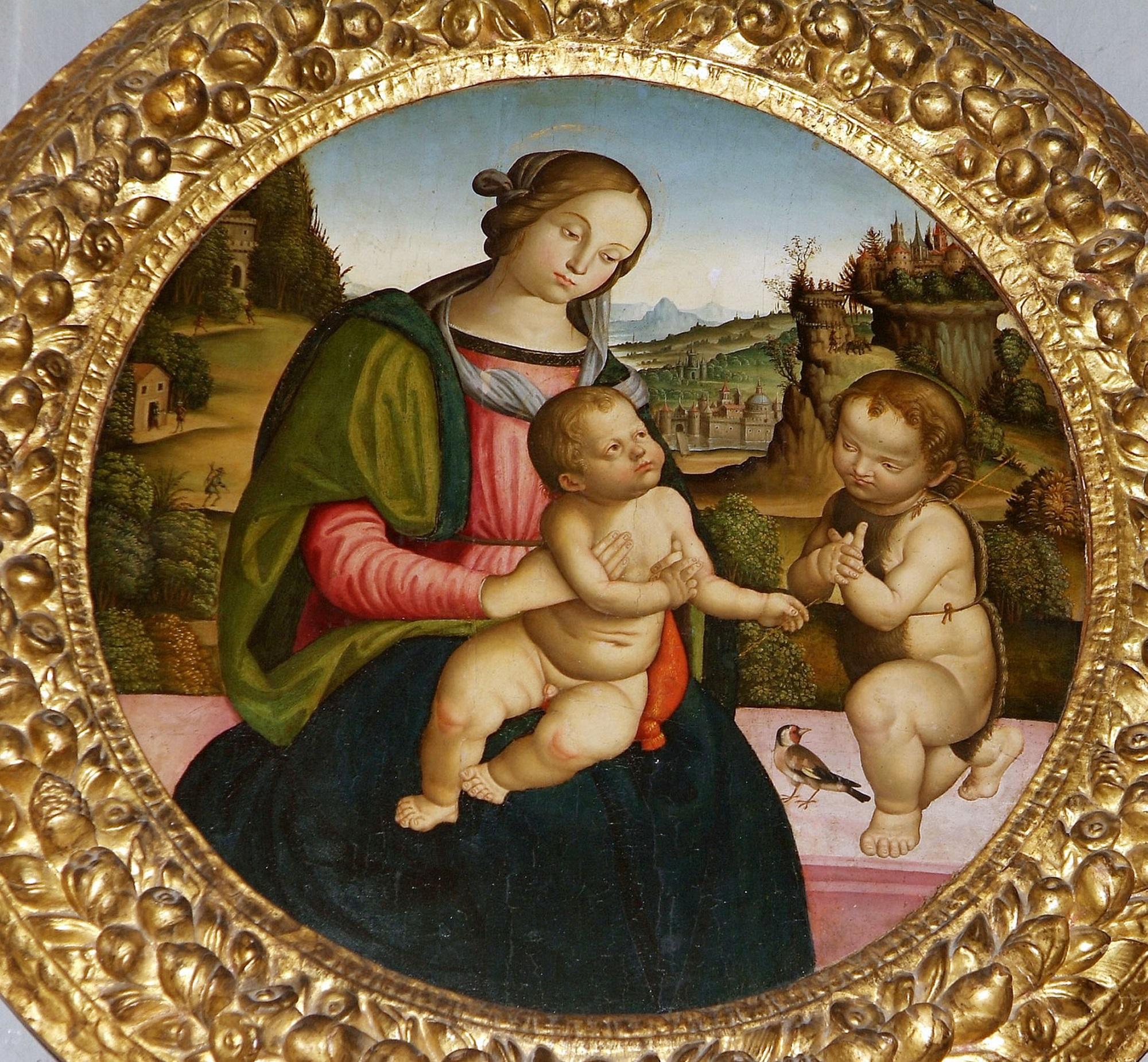 quadro raffigurante la Madonna con il bambino e San Giovanni Battista della scuola umbra perugino-Pintoricchiesca